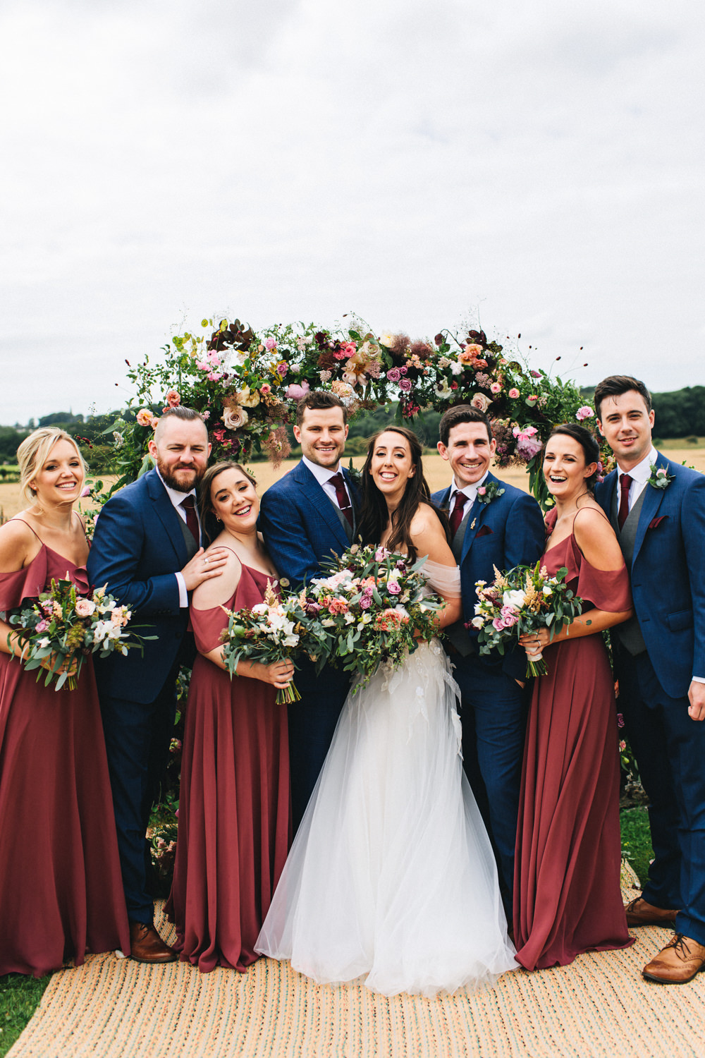 Bridesmaid Dress Bridesmaids Dresses Red Burgundy Groomsmen Suit Blue Check Waistcoat Red Burgundy Outbuildings Wedding Jessica O'Shaughnessy Photography