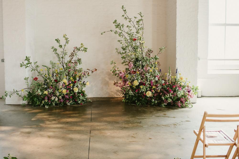 Wild Natural Flower Installation Spring Greenery Foliage Riverside London Wedding Ellie Gillard Photography