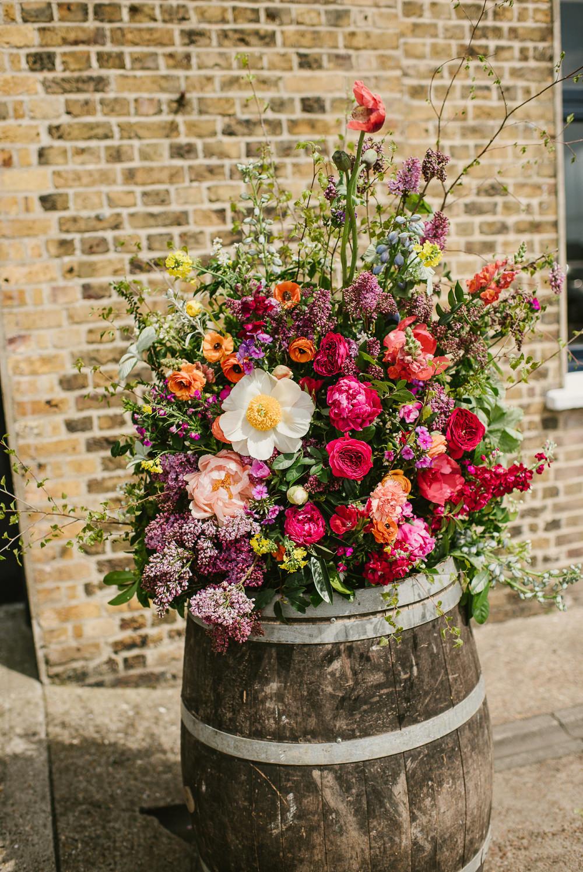 Barrel Flowers Decor Spring Coral Peony Natural Wild Colourful Riverside London Wedding Ellie Gillard Photography