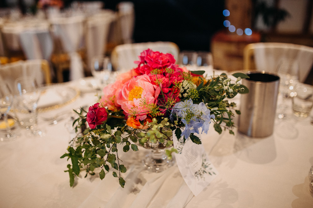 Table Flowers Coral Peony Peonies Pink Rose Delphinium Hydrangea South Farm Wedding Miracle Moments
