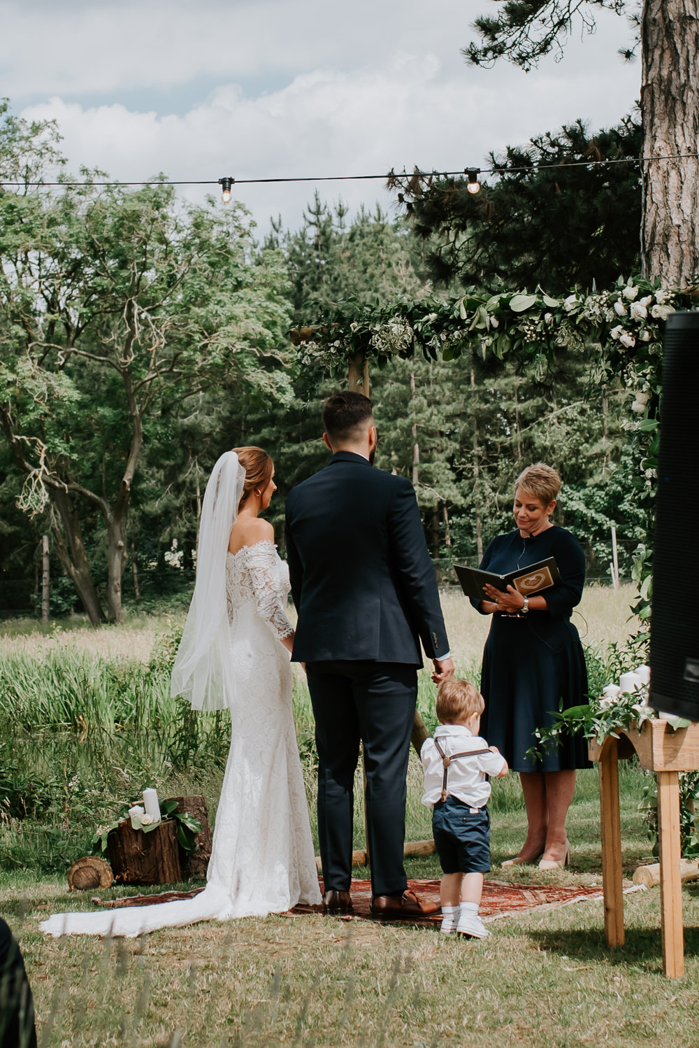 Backdrop Flower Arch Greenery Foliage Outdoor Woodland Ceremony Tipi Hertfordshire Wedding Michelle Cordner Photography