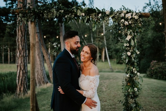 Tipi Hertfordshire Wedding Michelle Cordner Photography Backdrop Flower Arch Greenery Foliage