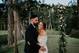 Tipi Hertfordshire Wedding Michelle Cordner Photography Backdrop Flower Arch Greenery Foliage