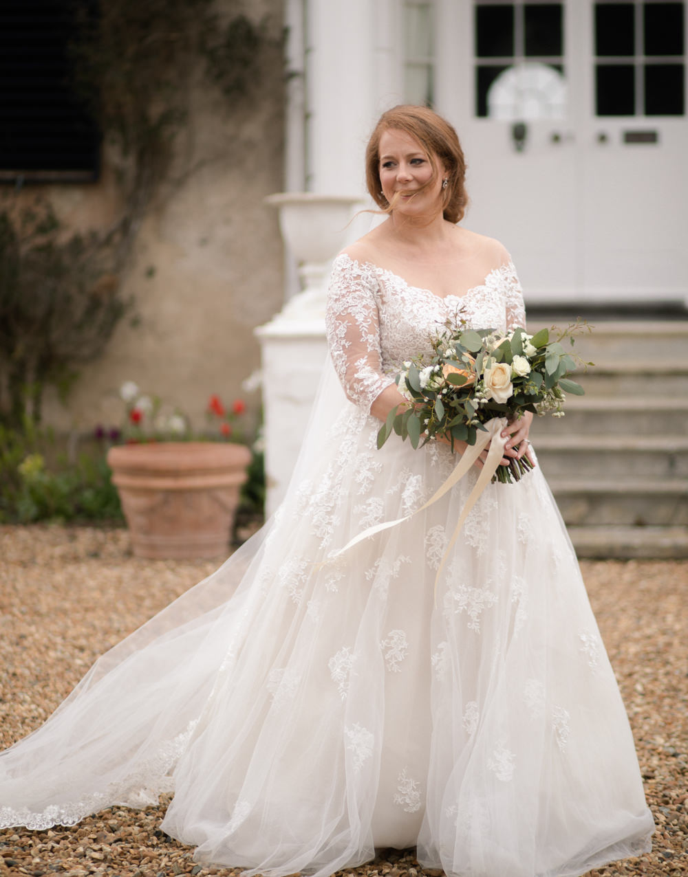 Bride Bridal Lace Bardot Button Back A Line Dress Gown Long Up Do Watercolour Wedding Kerry Ann Duffy Photography