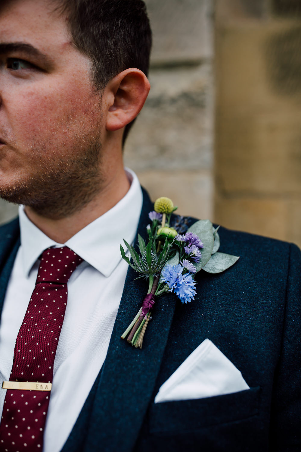 Buttonhole Flowers Groom Groomsmen Barff Country House Wedding Sarah Beth Photo