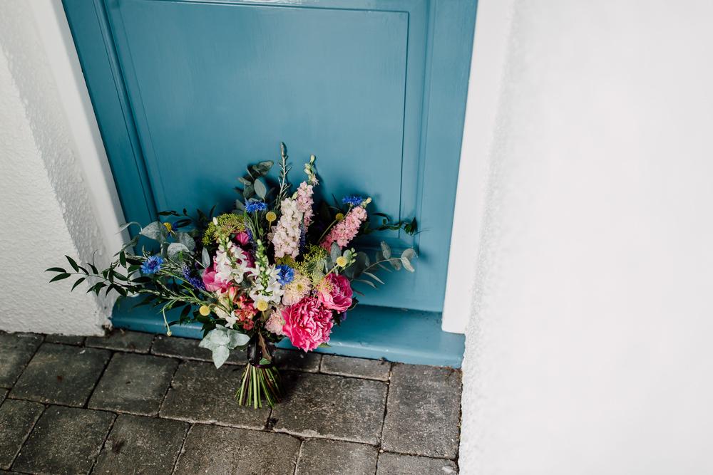 Bouquet Flowers Bride Brida Pink Yellow Blue Peony Peonies Eucalyptus Barff Country House Wedding Sarah Beth Photo