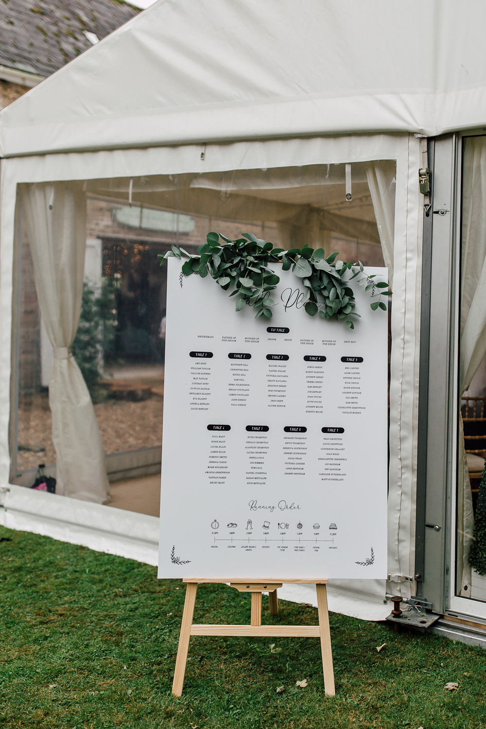 Table Plan Seating Chart Calligraphy Greenery Foliage Barff Country House Wedding Sarah Beth Photo