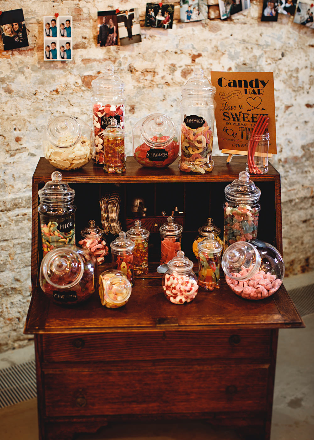 Sweets Sweetie Bar Stand Table Station Calke Abbey Wedding HBA Photography