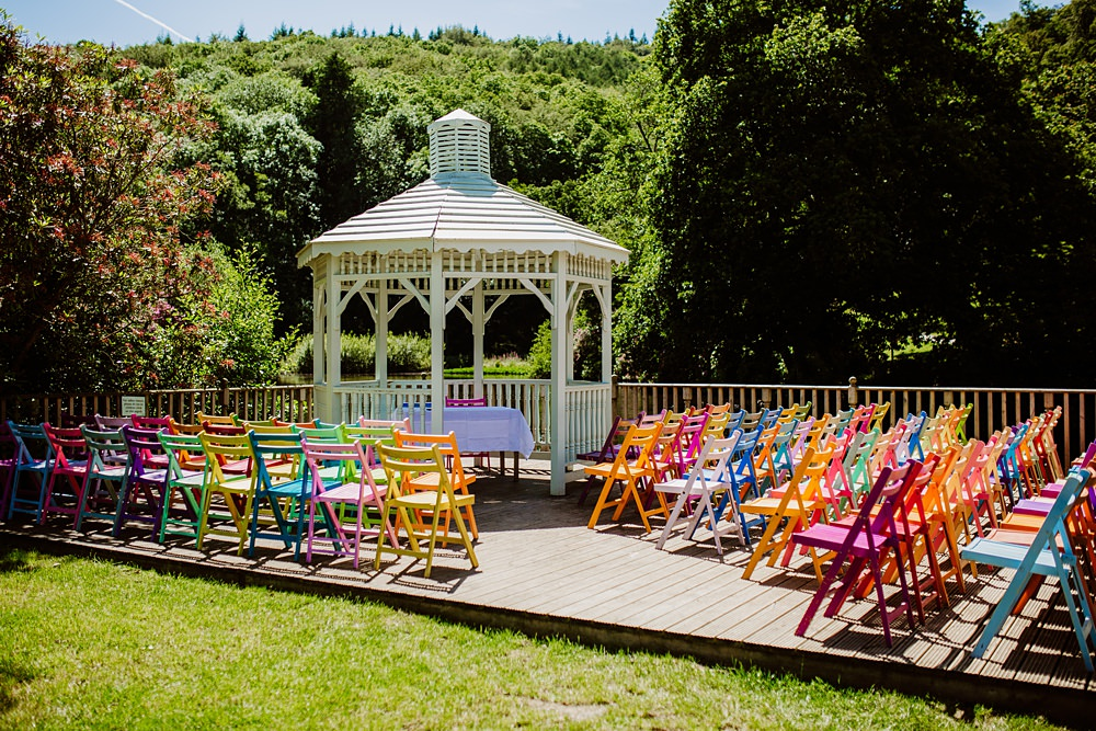 Outdoor Ceremony Multicolour Chairs Canonteign Falls Wedding Holly Collings Photography