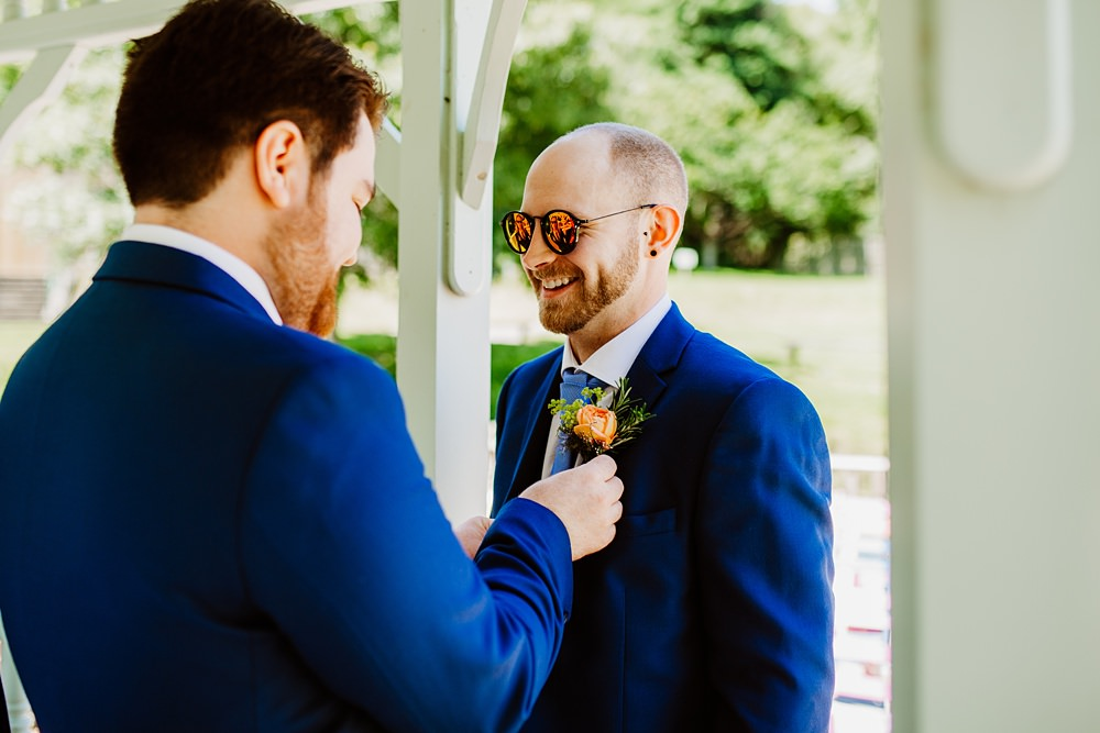 Groom Groomsmen Suit Blue Canonteign Falls Wedding Holly Collings Photography