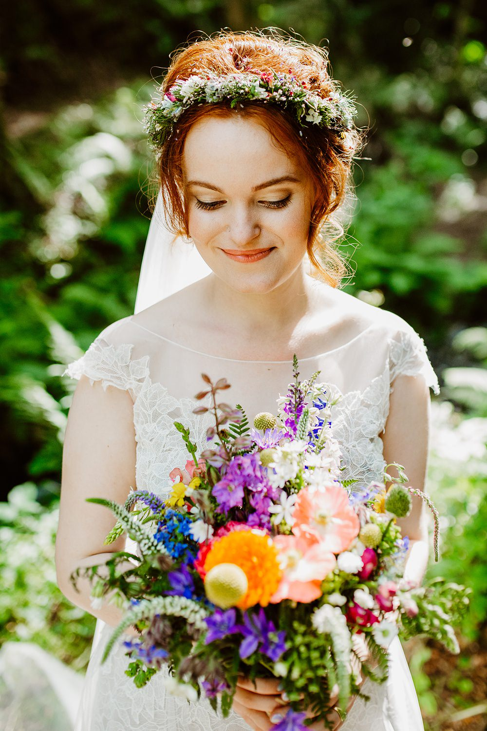Bouquet Flowers Bride Bridal Poppy Craspedia Colourful Multicolour Flower Crown Canonteign Falls Wedding Holly Collings Photography
