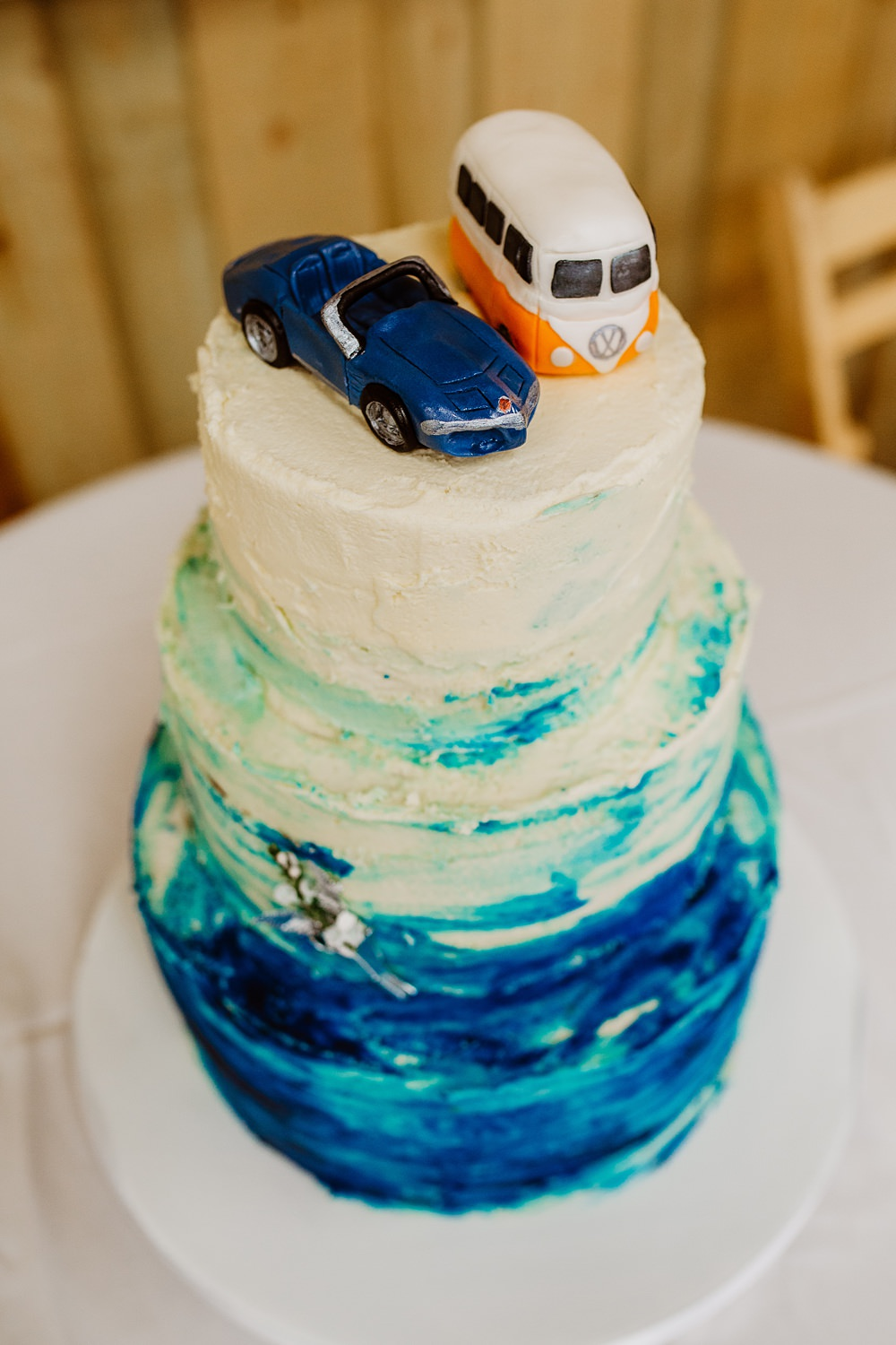 Watercolour Brush Stroke Cake Cars Transport Canonteign Falls Wedding Holly Collings Photography