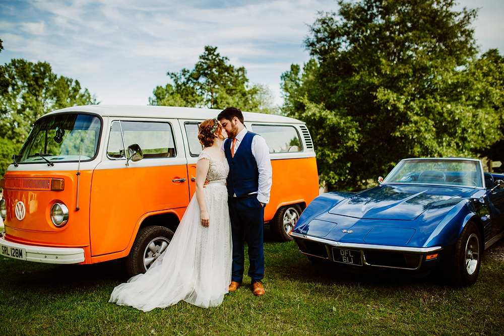 Cars Transport Classic Convertable VW Campervan Canonteign Falls Wedding Holly Collings Photography