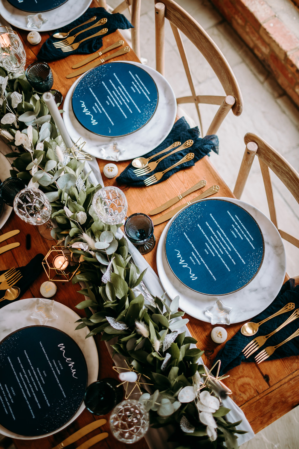 Table Tablescape Decor Decoration Table Runner Greenery Foliage Candles Blue Place Setting Menu Cards Gold Celestial Wedding Ideas Christine Thirdwheeling