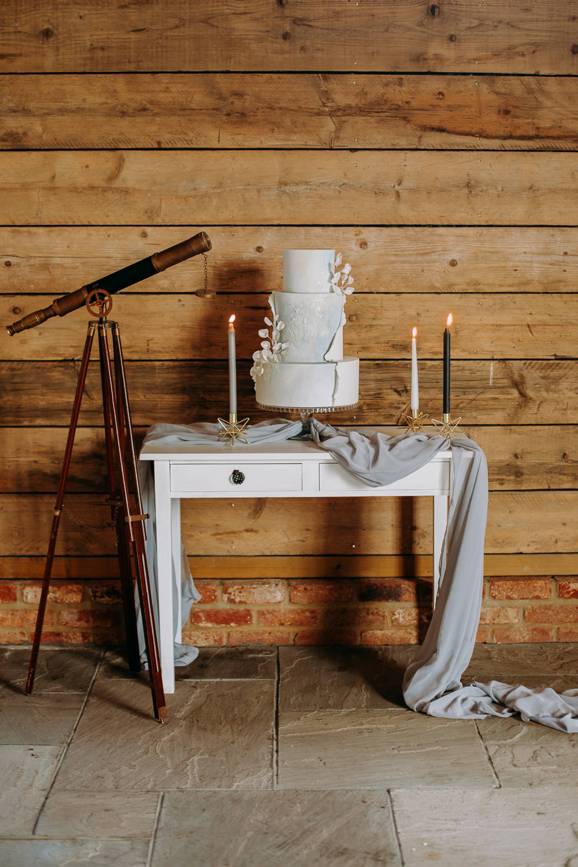 Cake Table Telescope Fabric Candles Celestial Wedding Ideas Christine Thirdwheeling