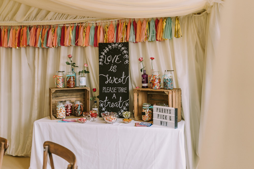 Sweet Sweetie Table Bar Stand Tassel Garland Crafty Village Hall Wedding Dot and Scolly Photography