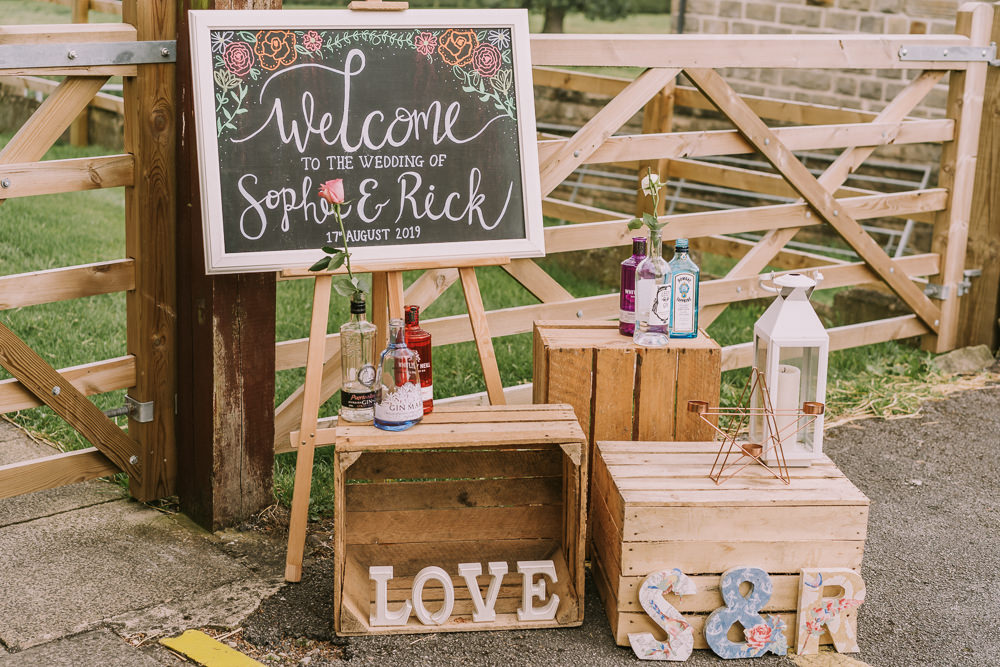 Sign Signs Signage Welcome Chalk Black Board Wooden Crates Decor Crafty Village Hall Wedding Dot and Scolly Photography