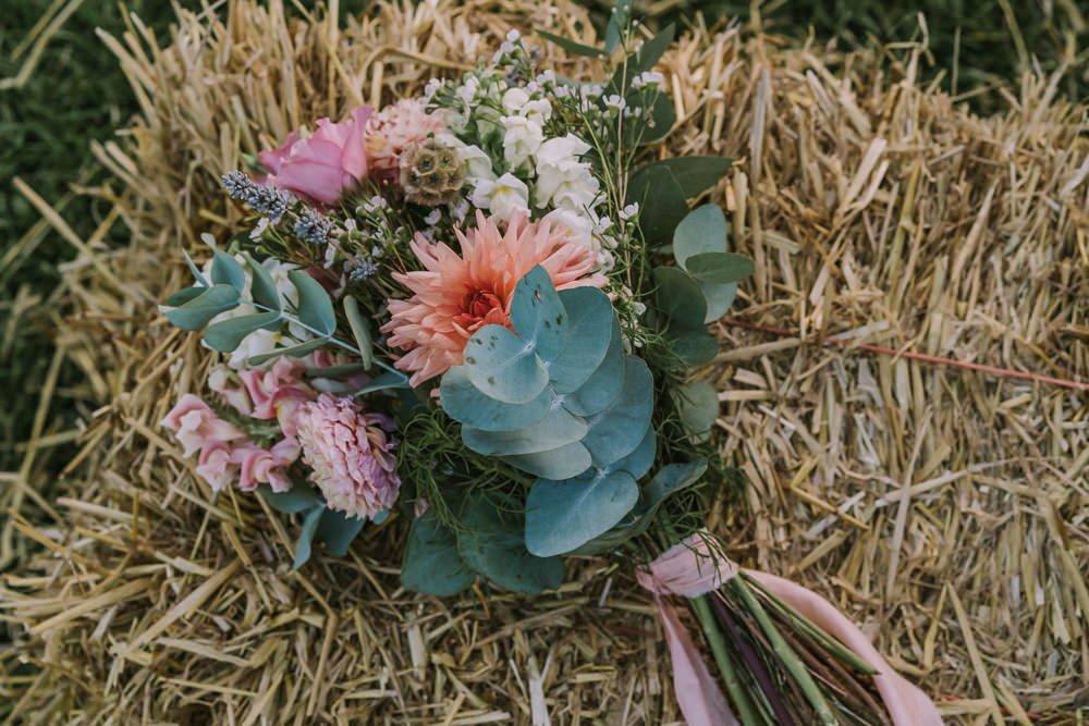 Bouquet Flowers Bride Bridal Coral Cream Dahlia Crafty Village Hall Wedding Dot and Scolly Photography
