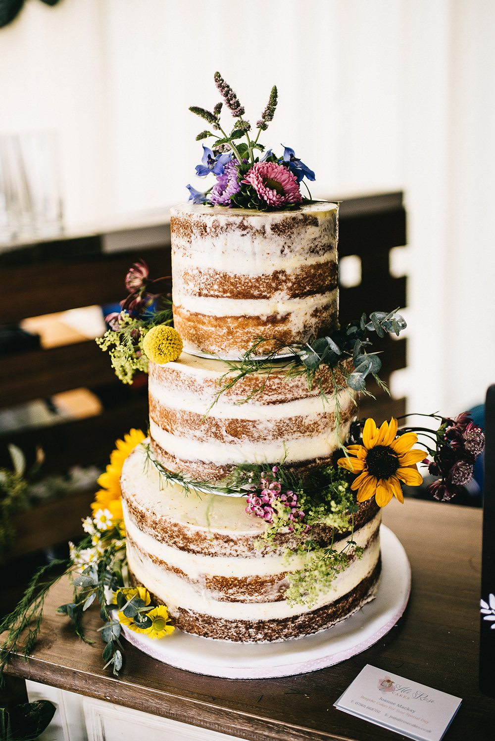 Semi Naked Cake Sponge Later Flowers Farm Wedding Alex Tenters Photography