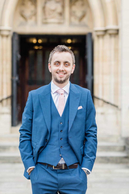 Groom Groomsmen Suits Blue Pink Tie Gate Street Barn Wedding Camilla J Hards
