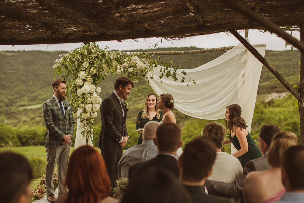 Outdoor Ceremony Backdrop Flower Arch Greenery Fabric Drapes Italy Villa Wedding The Springles