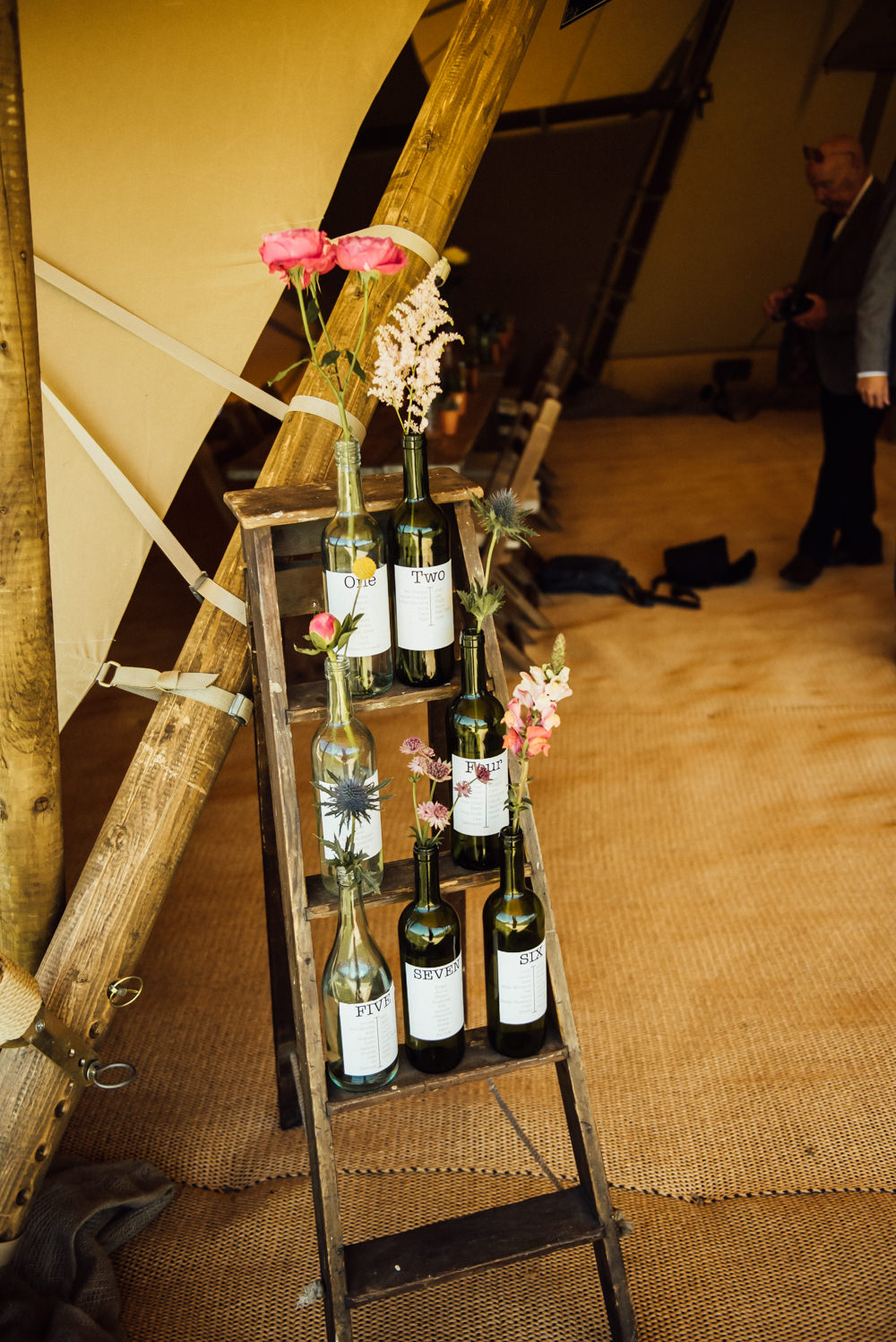 Table Plan Seating Wooden Ladder Bottle Flowers Long Furlong Farm Wedding Michelle Wood Photographer