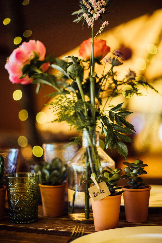 Pot Place Name Succulent Favour Rustic Wooden Tables Decor Decoration Bottle Flowers Long Furlong Farm Wedding Michelle Wood Photographer