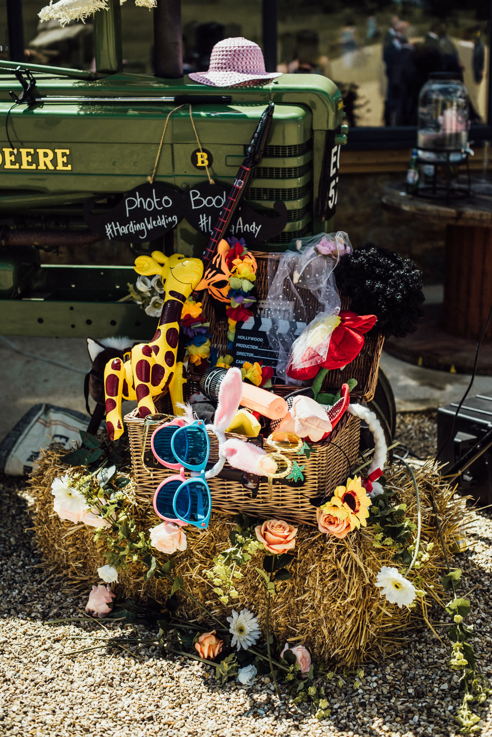 Tractor Photo Booth Props Long Furlong Farm Wedding Michelle Wood Photographer