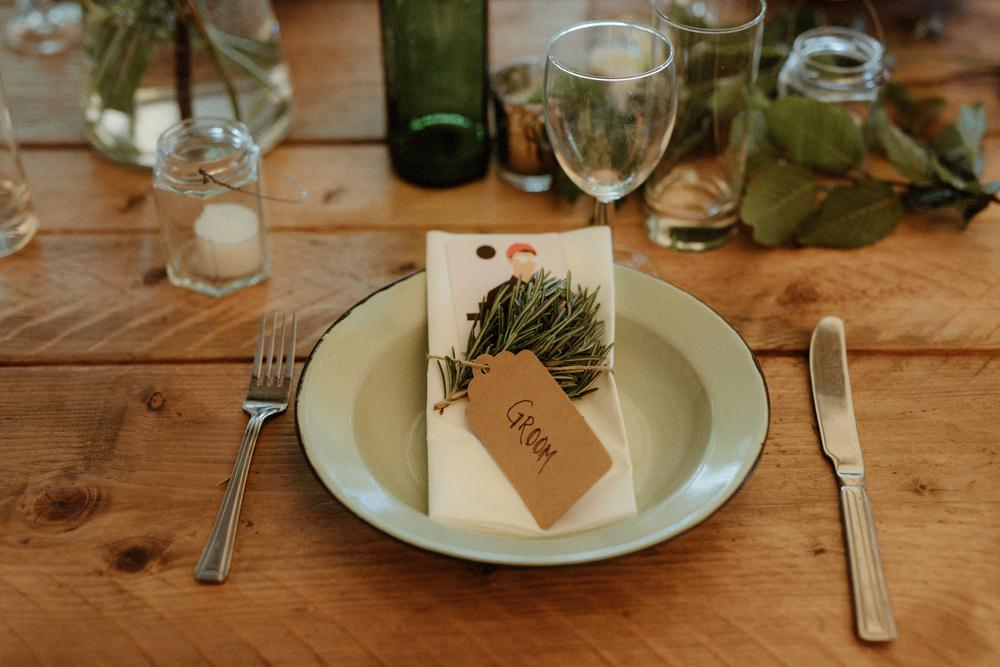 Place Setting Rosemary Luggage Tag Place Name Outdoor Wedding UK Olivia and Dan Photography