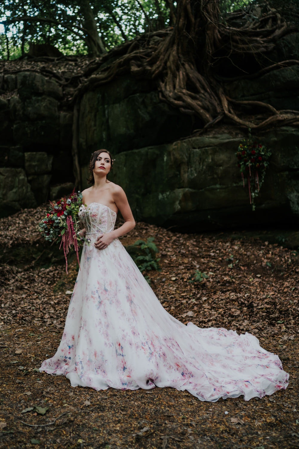 Dress Gown Bride Bridal Pink Floral Tulle Strapless Train Snow White Wedding Inspiration Joasis Photography