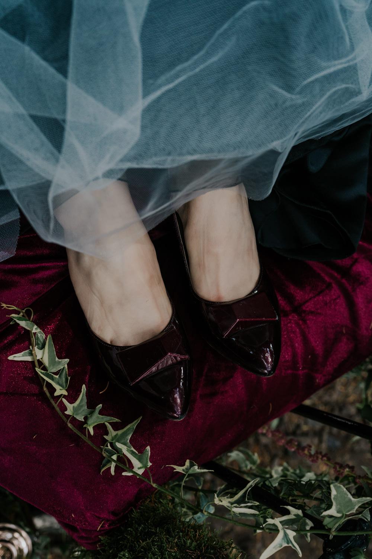 Burgundy Shoes Bride Bridal Snow White Wedding Inspiration Joasis Photography