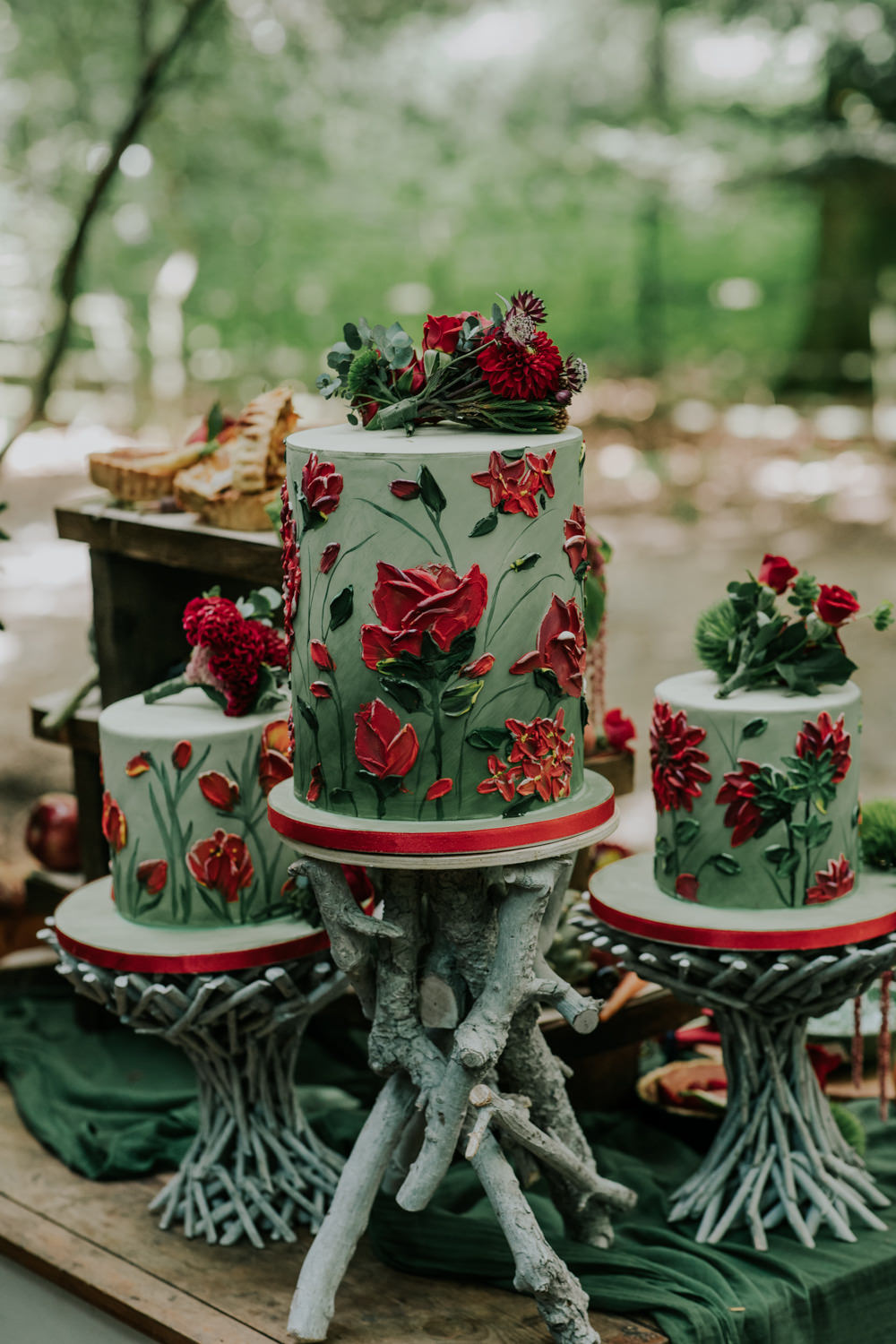 Green Red Floral Cake Cakes Snow White Wedding Inspiration Joasis Photography