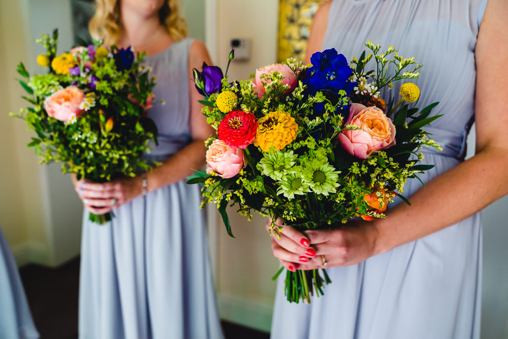 Bouquet Flowers Bride Bridal Colourful Bright Daisy Rose Birtsmorton Court Wedding The Dignums