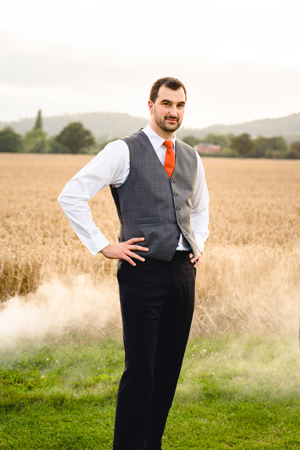 Groom Suit Orange Tie Waistcoat Birtsmorton Court Wedding The Dignums