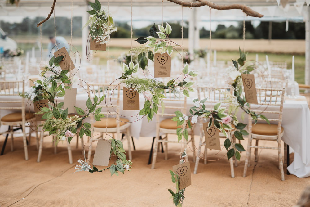 Wreath Table Plan Seating Chart Greenery Hoop Clear Marquee Wedding Sarah Brookes Photography