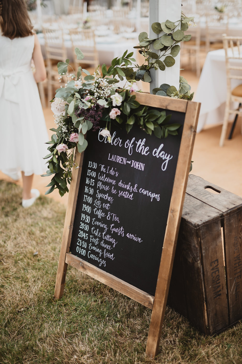 Black Board Chalk Sign Signs Signage Welcome Flowers Order of the Day Clear Marquee Wedding Sarah Brookes Photography