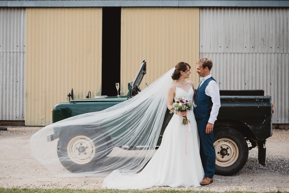 Tranport Land Rover Clear Marquee Wedding Sarah Brookes Photography