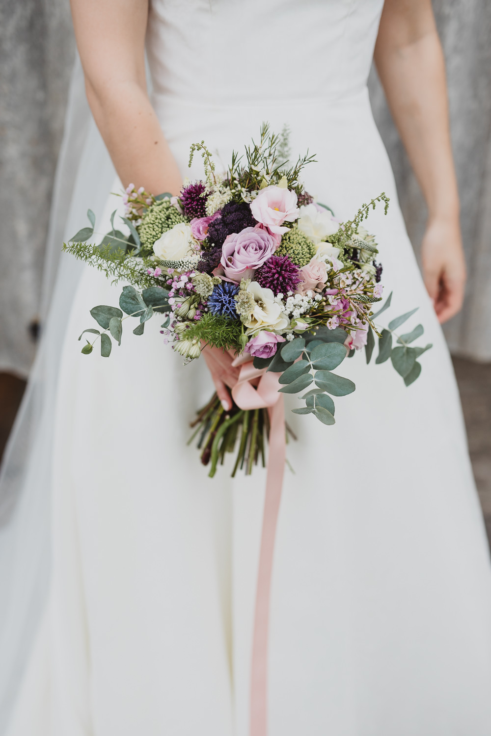 Bouquet Flowers Bride Bridal Eucalyptus Rose Wax Flower Lilac Pink Clear Marquee Wedding Sarah Brookes Photography