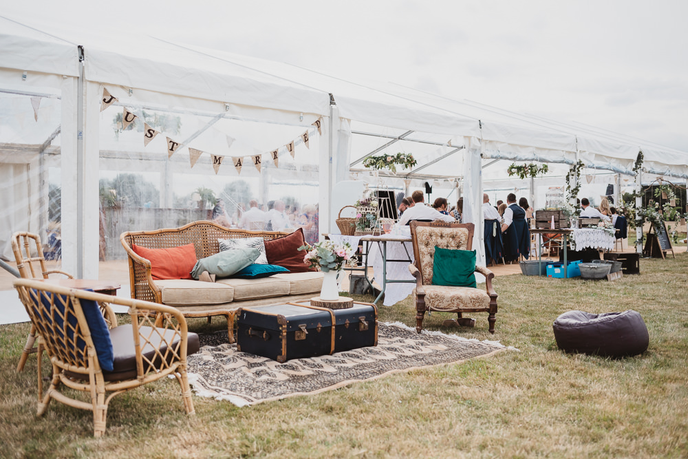 Outdoor Seating Area Sofa Clear Marquee Wedding Sarah Brookes Photography