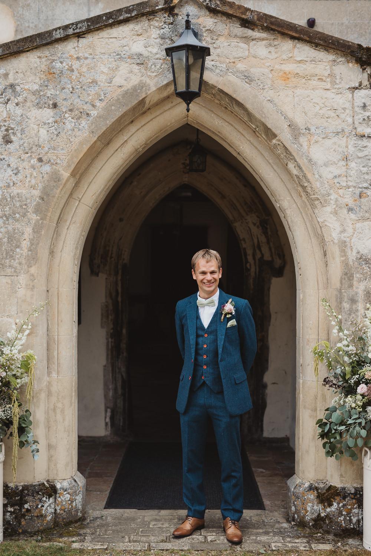 Groom Groomsmen Suits Navy Tweed Bow Tie Clear Marquee Wedding Sarah Brookes Photography
