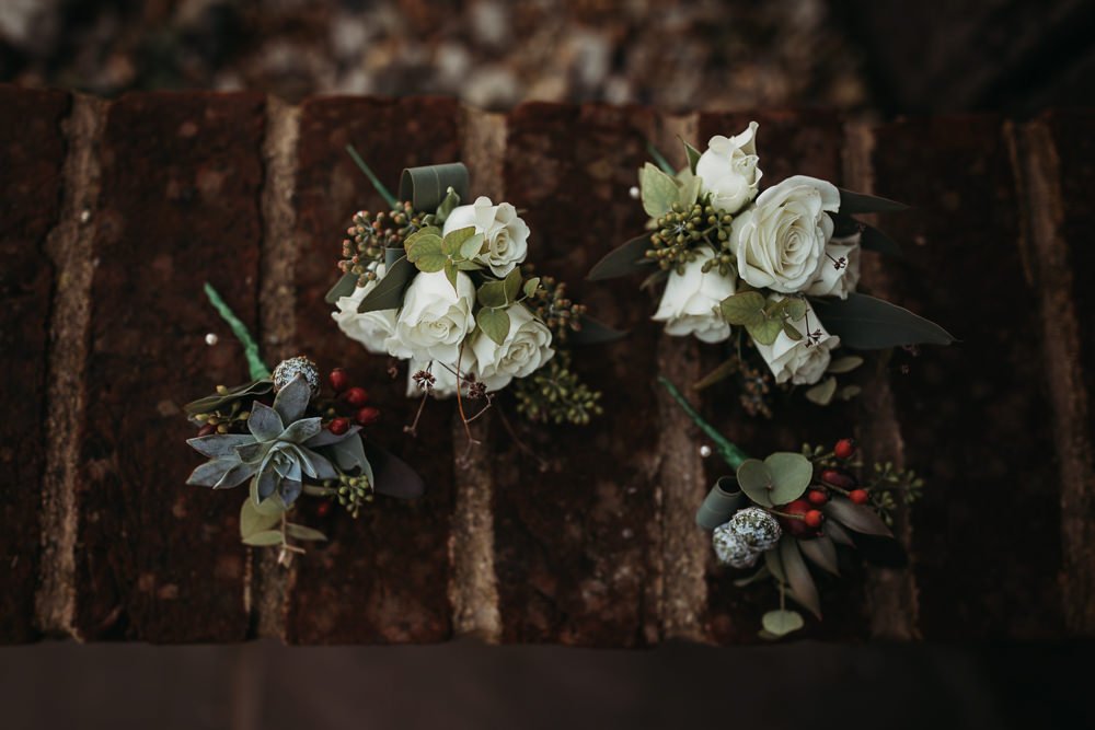 Buttonhole Flowers Twine Cooling Castle Barn Wedding Thyme Lane Photography