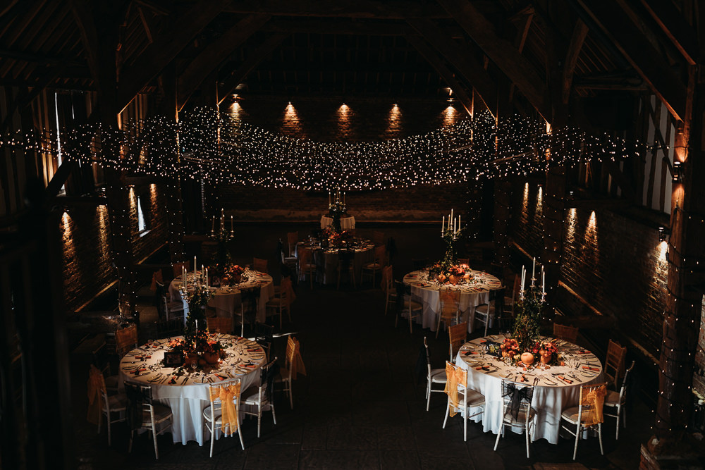 Fairy Light Canopy Round Tables Cooling Castle Barn Wedding Thyme Lane Photography