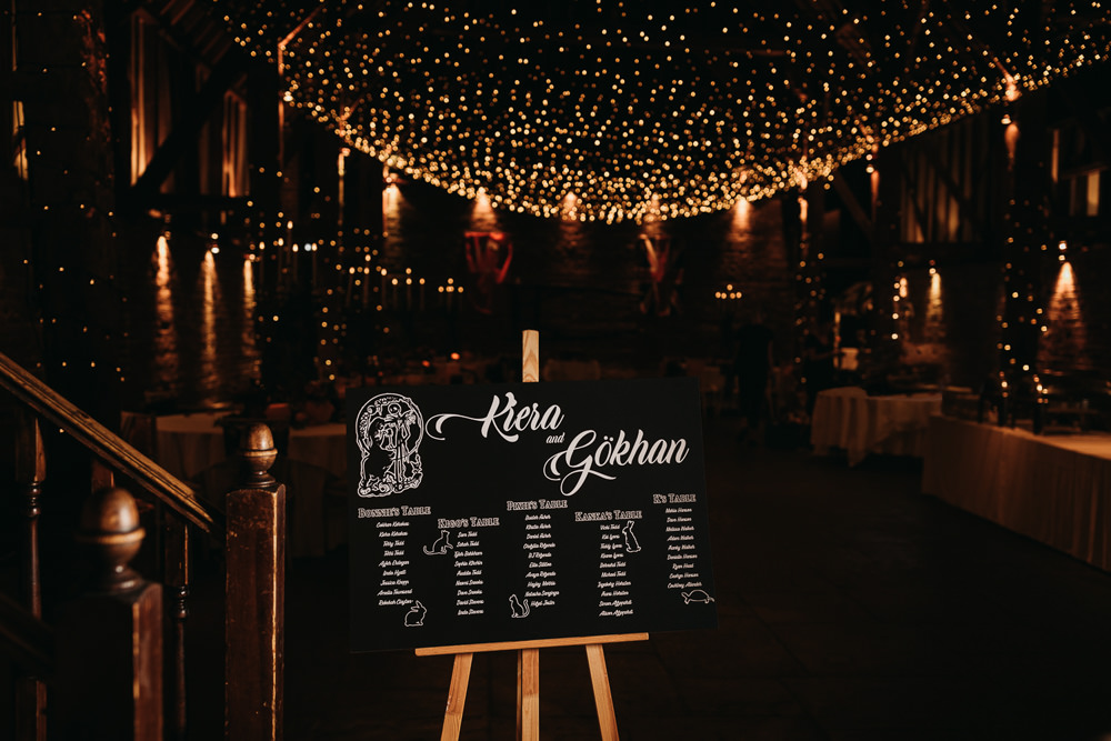 Black Seating Plan Table Chart Calligraphy Cooling Castle Barn Wedding Thyme Lane Photography