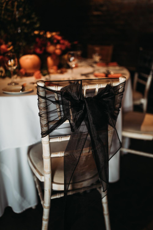 Black Chair Bow Sash Cooling Castle Barn Wedding Thyme Lane Photography