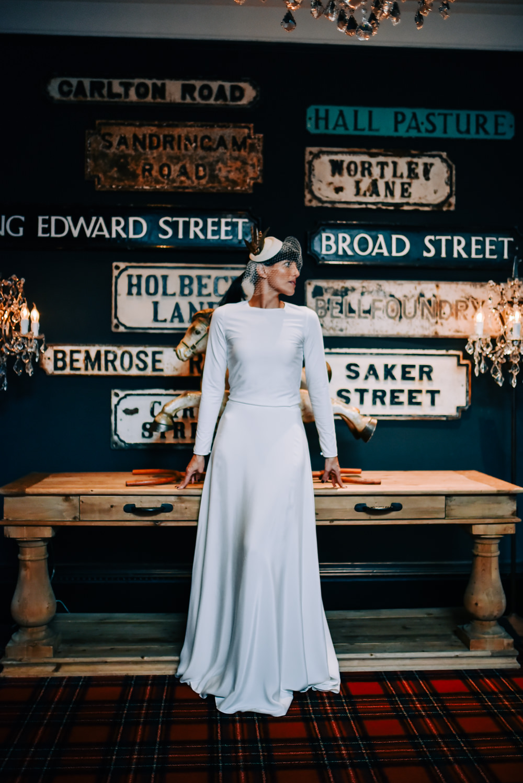 Dress Gown Sleek Modern Long Sleeves Top Skirt Andrea Hawkes Bridal Glazebrook House Wedding Harriet Bird Photography