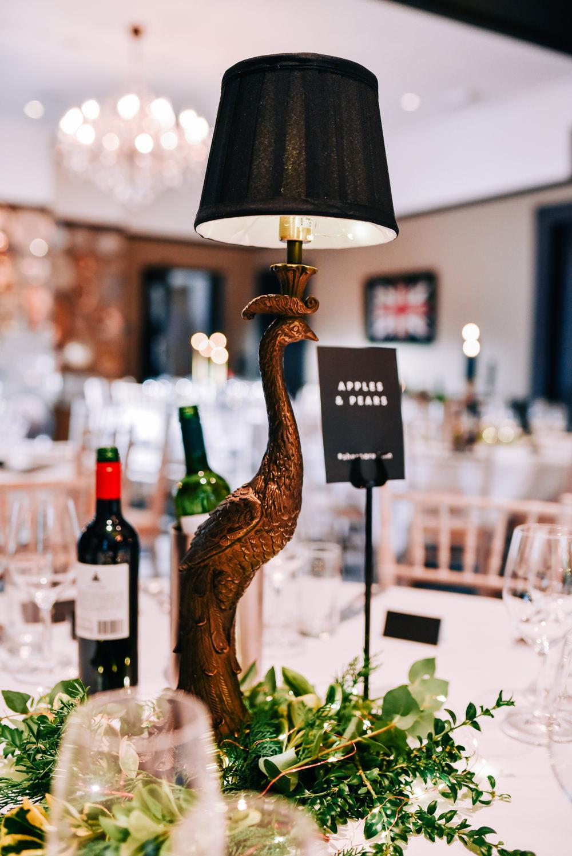 Centepiece Quirky Lamp Bird Candle Sticks Greenery Foliage Glazebrook House Wedding Harriet Bird Photography