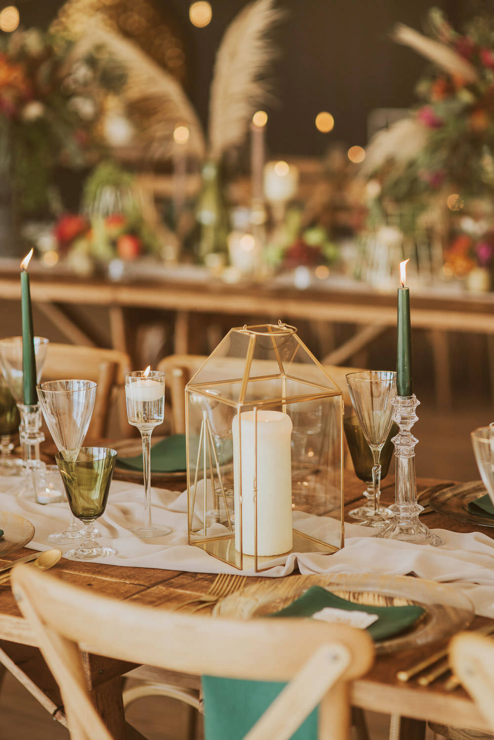 Terrarium Candle Holder Decor Decoration Table Tablescape Green Gold Wedding Ideas Samantha Davis Photography