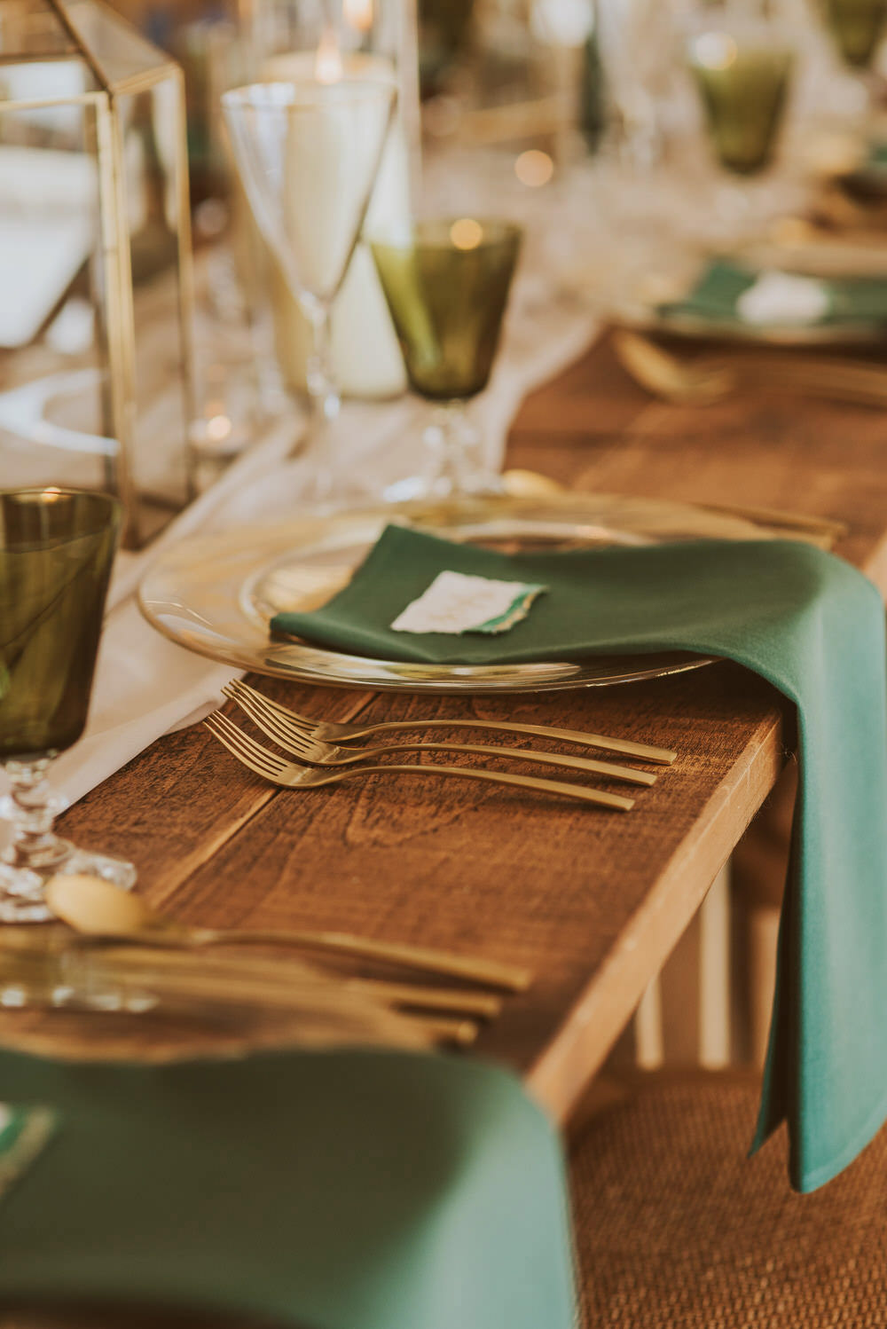 Decor Decoration Table Tablescape Glasses Candles Napkins Cutlery Place Setting Green Gold Wedding Ideas Samantha Davis Photography