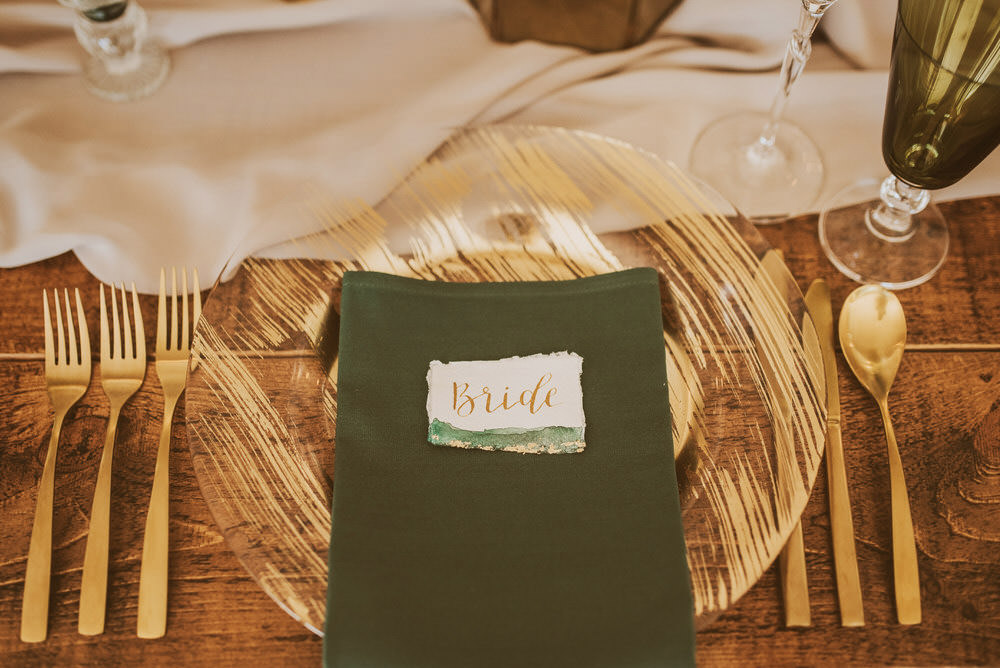 Decor Decoration Table Tablescape Glasses Candles Napkins Cutlery Place Setting Place Name Green Gold Wedding Ideas Samantha Davis Photography