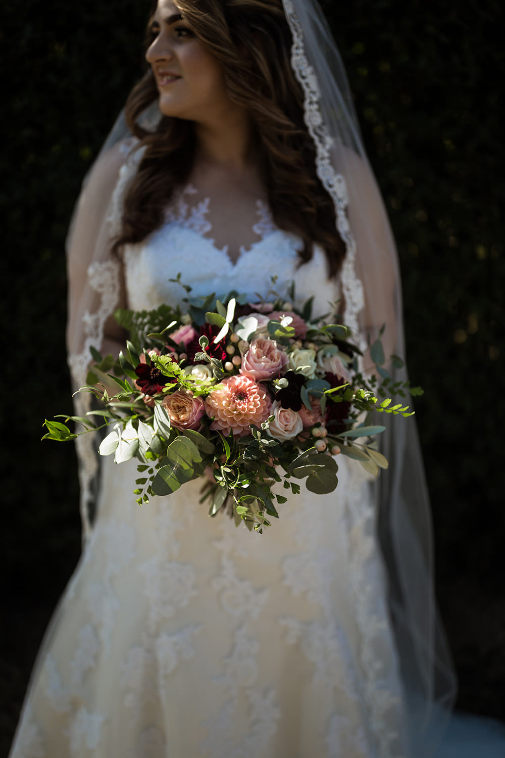 Bride Bridal Bouquet Flowers Dahlia Rose Eucalyptus Haughley Park Barn Wedding Him and Her Wedding Photography